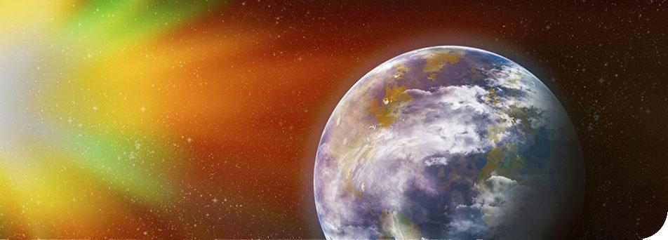 Man sieht die Erde, die von der Sonne bestrahlt wird